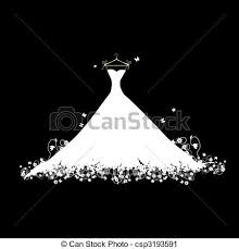 Wedding dress white on black