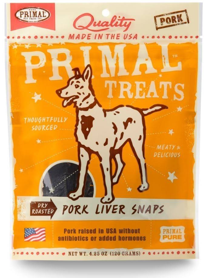 Primal Dry Roasted Dog Treats, Pork Liver Snaps / 4.25 oz