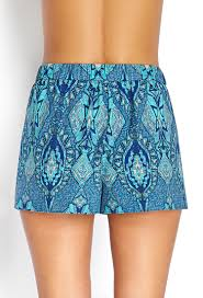 forever 21 woven tribal print shorts in blue lyst