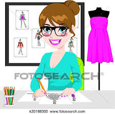 Clipart Of Fashion Designer Drawing Sketches K20188300