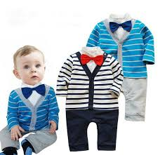 Cute Baby Boys Rompers Infant Long Sleeve Style Clothing Stripe Suit Jumpsuits Kids Clothes For Juniors