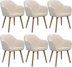 woltu 6x esszimmerstühle küchenstuhl wohnzimmerstuhl design stuhl polsterstuhl mit armlehne samt massivholz cremeweiß bh95cm 6