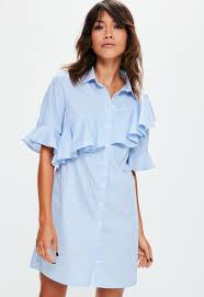 blue striped ruffle short sleeve shirt dress missguided