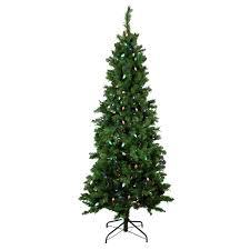 7 Ft Slim Flocked Christmas Tree Lit Single Plug Mixed Long Needle
