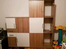 details zu wohnzimmer wohnwand gebraucht 2 teilig in weiß braun holzoptik