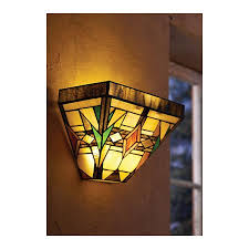 mission glass wall sconce in stained glass battery operated
