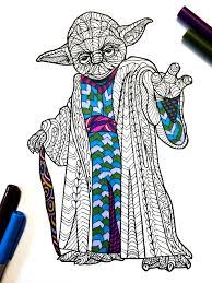 Yoda PDF Zentangle Coloring Page