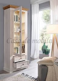 vitrine flair 79x214x42cm 1türig kiefer stubenschrank massiv landhaus weiß eichefarben