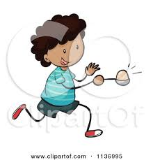Black Boy peting In An Egg And Spoon Race