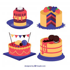 Set of four cakes Free Vector