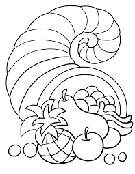 Thanksgiving Harvest Coloring Pages Cornucopia