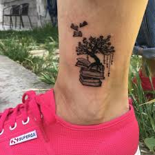 Ankle Book Tattoo Design With A Tree