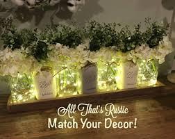 Wedding Decor Centerpiece Greenery Flower Arrangement Mason Jar