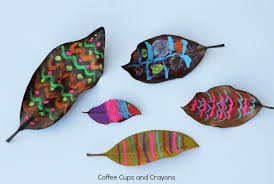 Chalk Art On Leaves Simple Activity For Kids