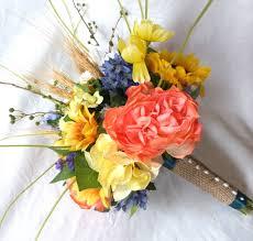 Silk flower sunflower coral rose wild flower bridal bouquet