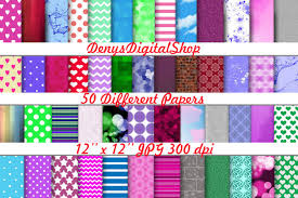 Digital Scrapbook 50 Papers Package Paper For Different Activities Sweet Patterns