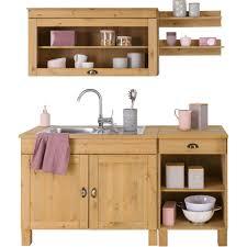 home affaire küchen set oslo 5 tlg ohne e geräte breite 150 cm aus massiver kiefer 23 mm starke arbeitsplatte mit metallgriffen