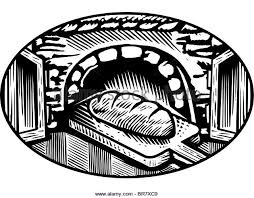 Cartoon drawing of an oven baked bread in black and white Stock Image