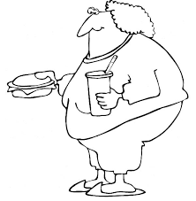 Fat Boy Eating Fast Food Colouring Page Coloring