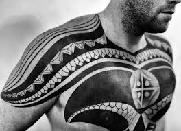 Cool Tribal Mens Chest Tattoos
