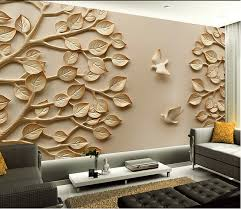 Mural Large 3D Wall Paper Leaves For TV Living Room Bedroom Art