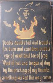 Famous Poems About Halloween by Primitive Halloween Sign A Witch Her Cauldron And Her Bats
