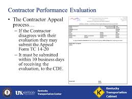kentucky transportation center contractor performance evaluations