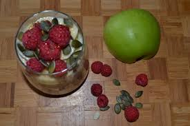 Roasted Pumpkin Seeds Glycemic Index by Bircher Muesli With Raspberries Banana And Pumpkin Seeds One