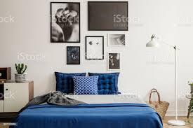 anlage auf schrank neben marineblau bett im schlafzimmer innenraum mit weißen le und galerie echtes foto stockfoto und mehr bilder bett