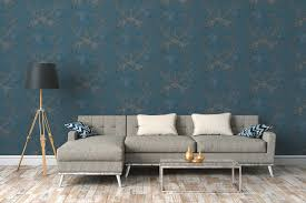 ornamenttapete vintage stil rustikal blau silber