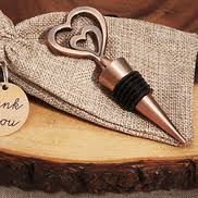 Vintage Copper Two Heart Wine Stopper Wedding Favors