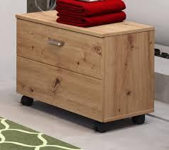 badezimmer sitzcontainer geo in artisan eiche badmöbel hocker auf rollen 55 x 47 cm