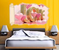 3d wandtattoo tapete text 3d blumen rosa herz herzen liebe schlafzimmer durchbruch selbstklebend wandbild wandsticker wohnzimmer wand aufkleber