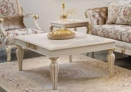 casa padrino luxus barock couchtisch weiß gold 125 x 90 x h 47 cm eleganter massivholz wohnzimmertisch im barockstil barock wohnzimmer möbel