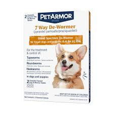 PetArmor 7 Way DeWormer For Puppies Small Dogs 2 Chewable Tabs