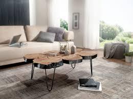 wohnling couchtisch bagli massiv holz akazie 115 cm breit wohnzimmer tisch design metallbeine landhaus stil beistelltisch