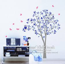 Wall Mural Decals Nature by Vinyl Wall Decals Green Tree Pink Owl Cuma Wall Decals