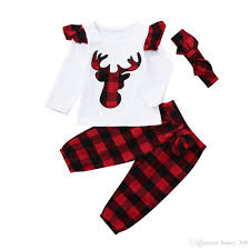 2019 Baby Girl Clothes Sets Plaid Baby Boy Tops Pants Headband Suits