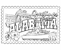 USA Printables Alabama State Stamp