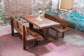 Narrow Solid Wood Distressed Trestle Dining Table With Benches