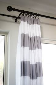 curtains modern design of horizontal stripe with black iron and