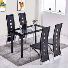Trustiwood 5 Piece Dining Room Table Set Dinette Set Tempered Glass Table  And Waterproof Faux PU Leather Chairs Kitchen Table Set Furniture Black