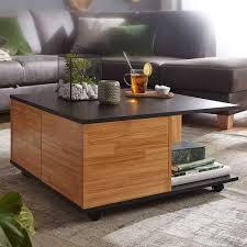 rollbarer wohnzimmer tisch mit 2 schubladen tramos