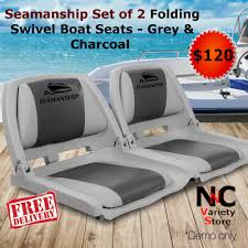 Seamanship Set Of 2 Folding Swivel Boat Seats - Grey & Charcoal ... Wise Blastoff Series Bench Seat 203467 Fold Down Seats At Selecting The Best Deck Chair Boating Magazine Wander Directors With Side Table Folding Alinum Frame Rear Dorel Cosco Commercial Beige Upholstered 4pack Bcf Top 10 Boat Of 2019 Video Review Questions Answers