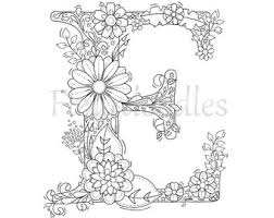 Adult Coloring Page Floral Letters Alphabet E Hand Lettering Printable