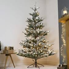 Artificial Christmas Trees Uk 6ft by Pre Lit Green Snow Effect Real Feel Pe Imperial Spruce Artificial