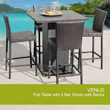 Venus Pub Table Set With Barstools 5 Piece Outdoor Wicker Patio