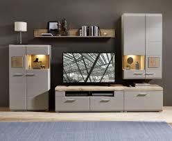 wohnwand schrankwand anbauwand plus ii wohnzimmer 5 tlg vitrine hängevitrine tv unterteil wandboard grau holz led beleuchtung