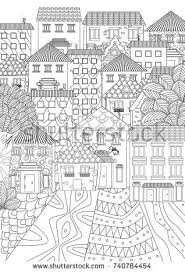 Cozy Cityscape For Coloring Book