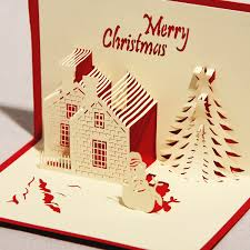 Christmas Handmade Greeting Cards 3d Card Castle In Winter Paper Craft Pop Up